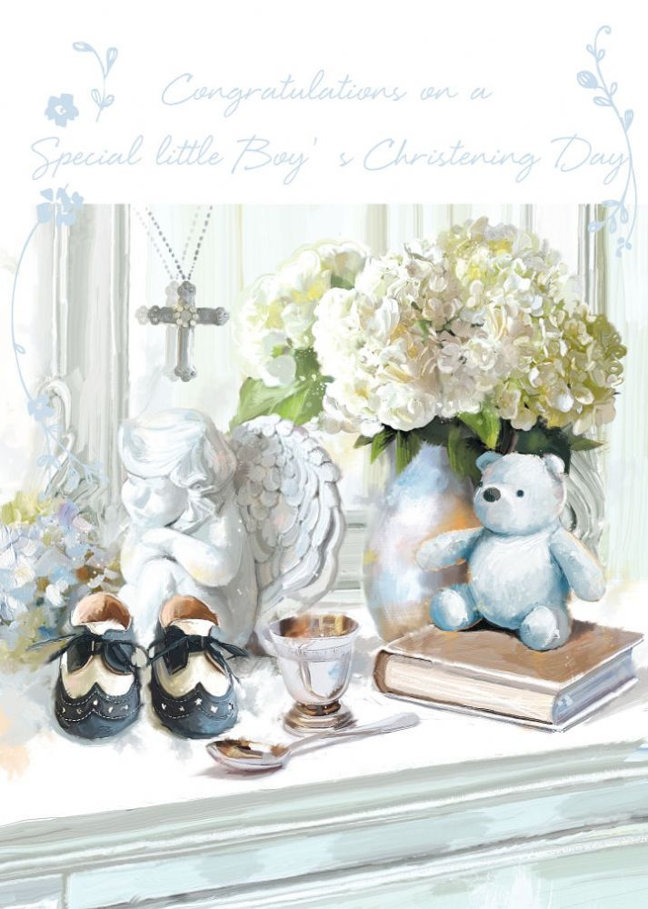 CHRISTENING CARD BABY BOY HIS CHRISTENING DAY SIZE 475 X